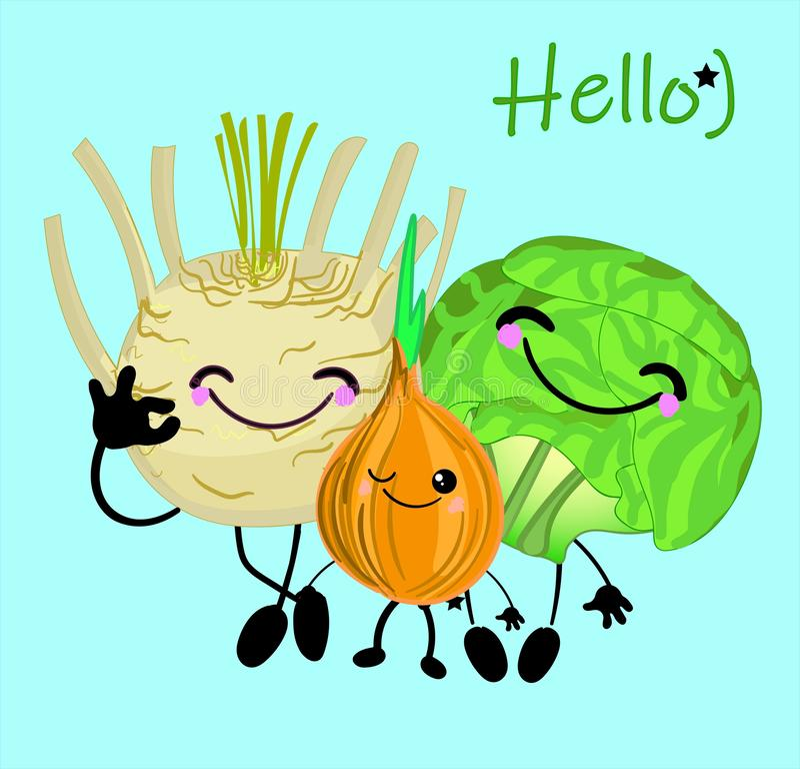 植物卡通人物的乐趣汇集 传染媒介菜孤立 设置各种各样的逗人喜爱的愉快的菜字符 库存例证