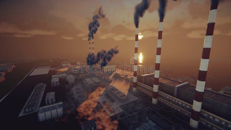 植物和抽象工厂的抽烟的烟囱厚实的烟雾、生态问题和空气污染概念的 库存例证