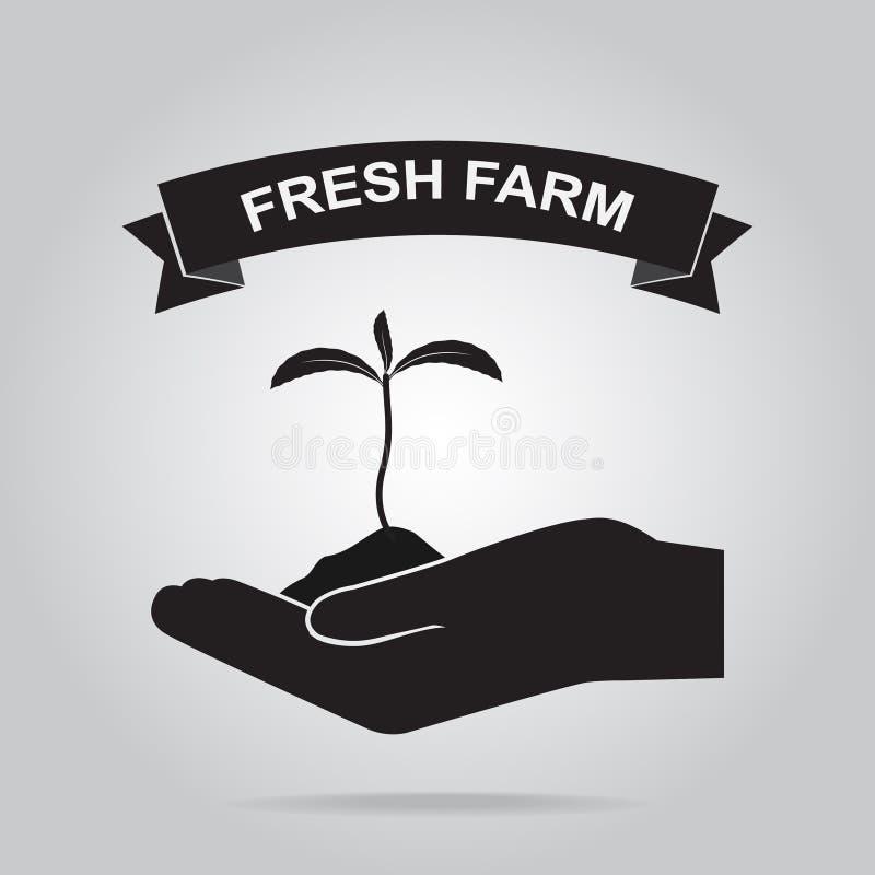 植物在手中耕种象的 向量例证