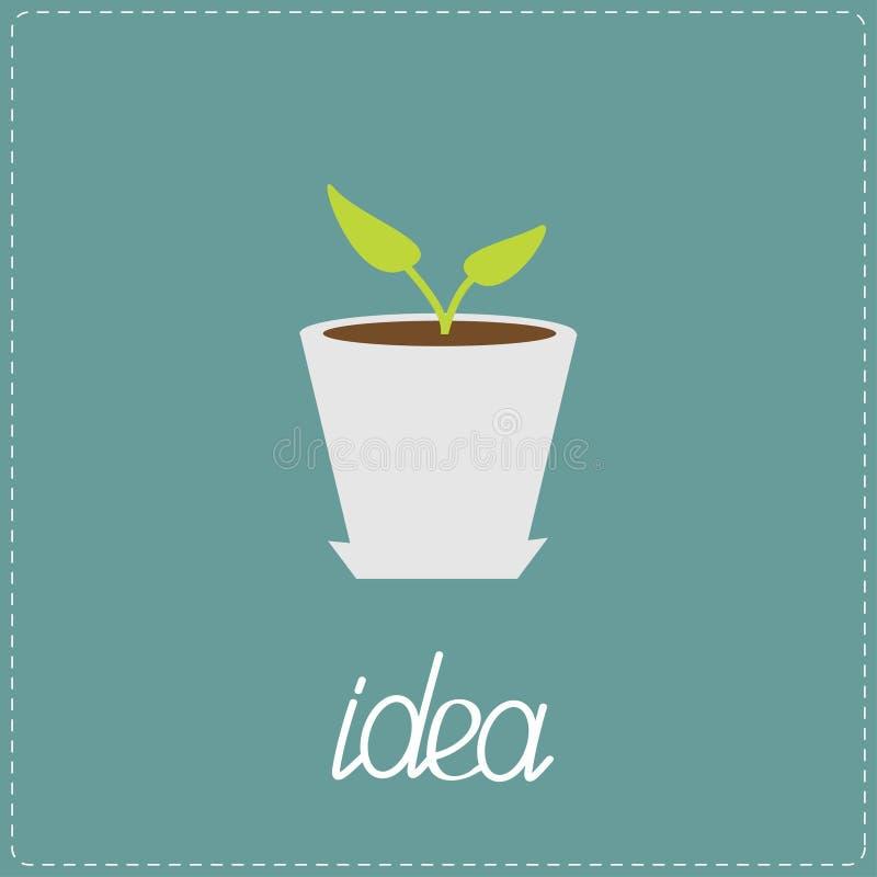 植物在罐增长。想法概念。 库存例证