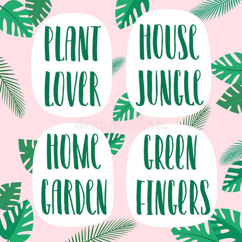 植物恋人、房子密林、家庭菜园、园艺能手、手拉的传染媒介字法和花卉装饰与棕榈 向量例证