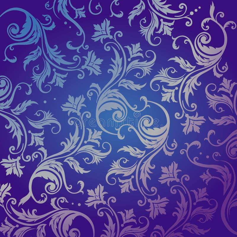 植物生长蓝色黑暗的装饰品 库存例证