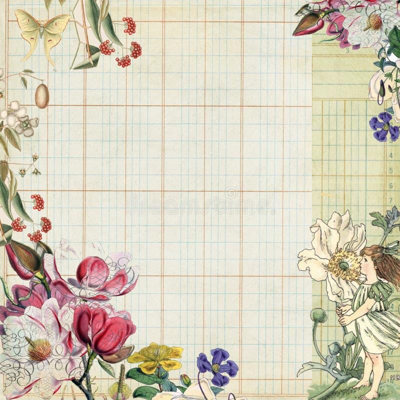 植物的神仙的花卉框架葡萄酒 皇族释放例证