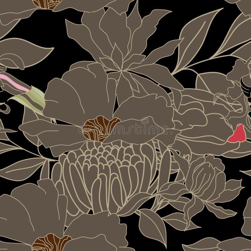 植物群无缝的墙纸 向量例证