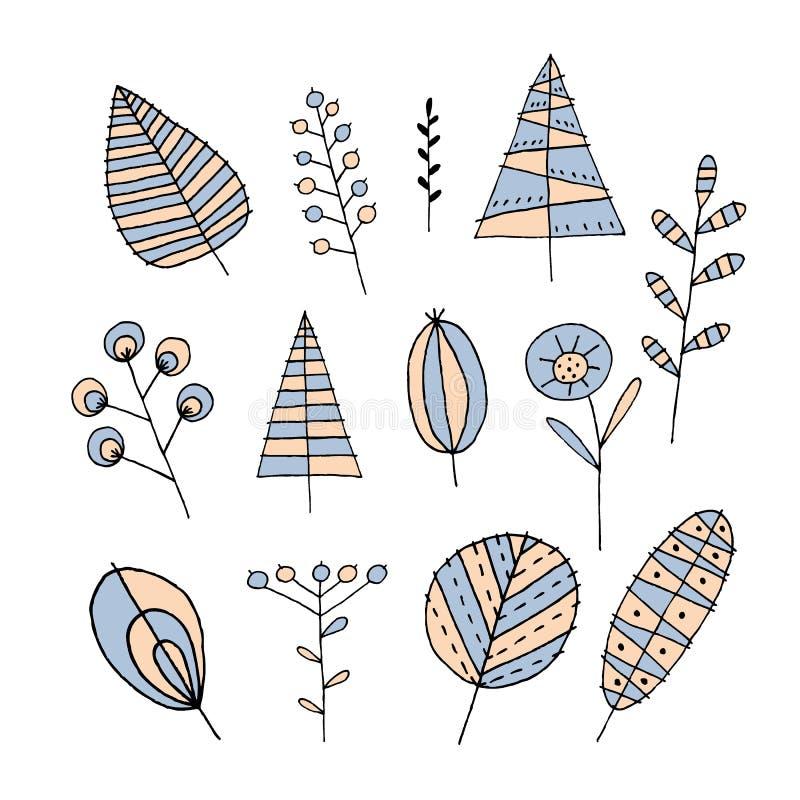 植物集合手图画 皇族释放例证
