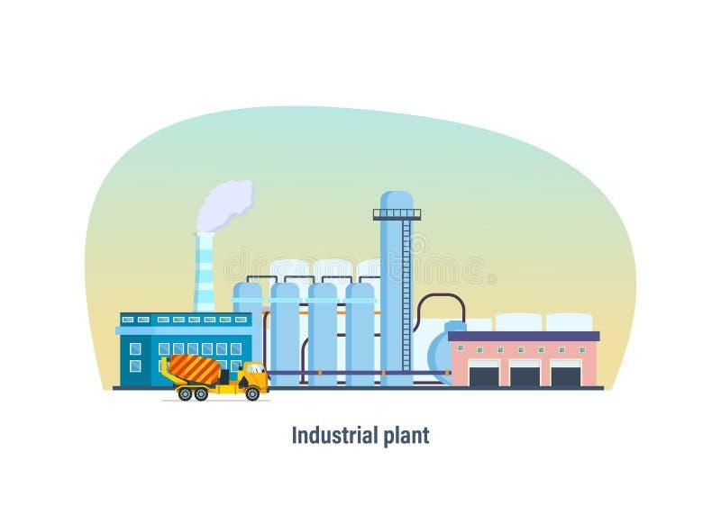植物,现代内部和外部门面工厂厂房  向量例证