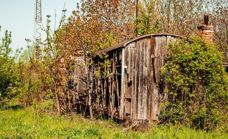 植被抓住的葡萄酒木铁货车流浪汉 图库摄影