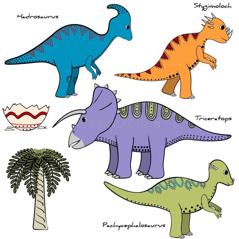 植被的套与名字的风格化恐龙和元素 库存例证