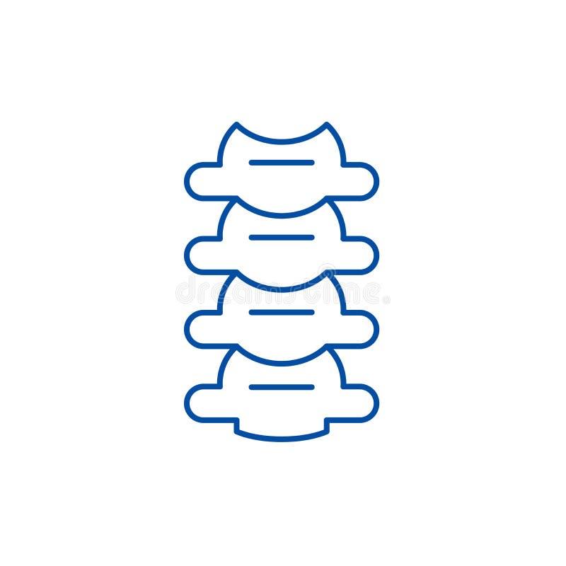 椎骨排行象概念 椎骨平的传染媒介标志,标志,概述例证 库存例证