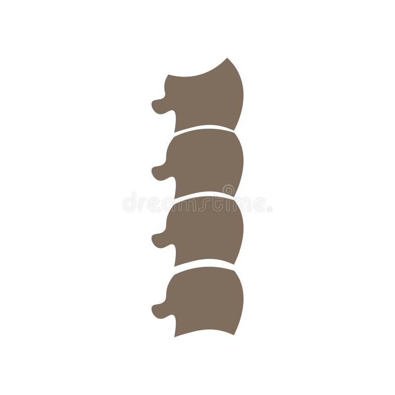 椎骨象在白色backgroun和标志隔绝的传染媒介标志 库存例证