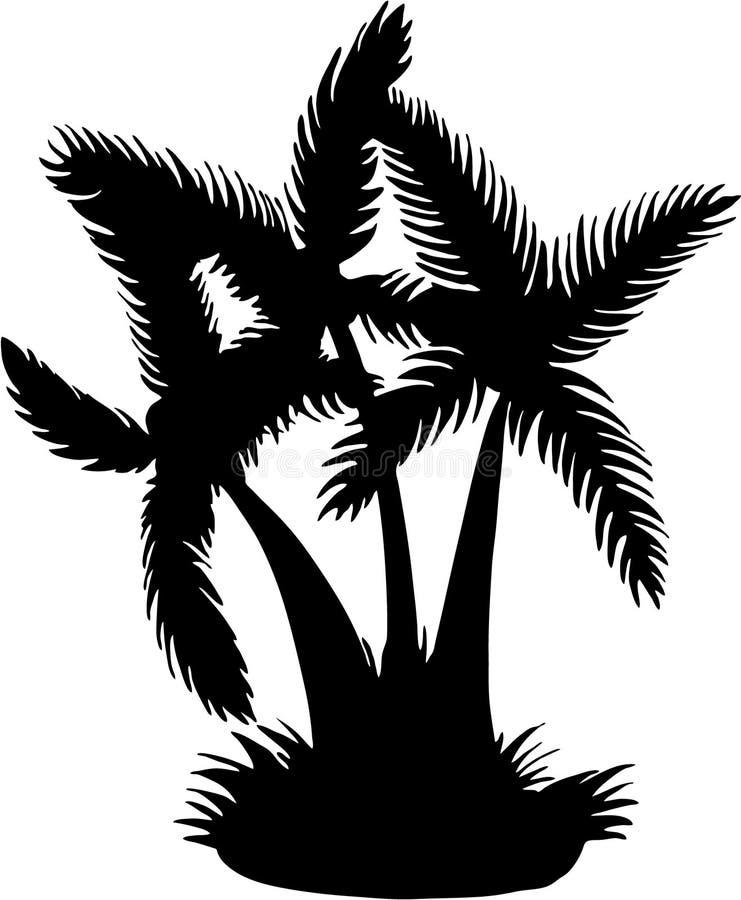 椰子剪影结构树向量 库存例证