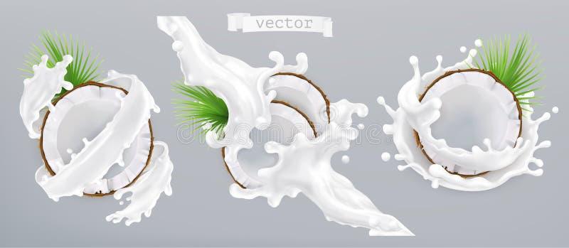 椰子和牛奶飞溅 3d图标向量 库存例证