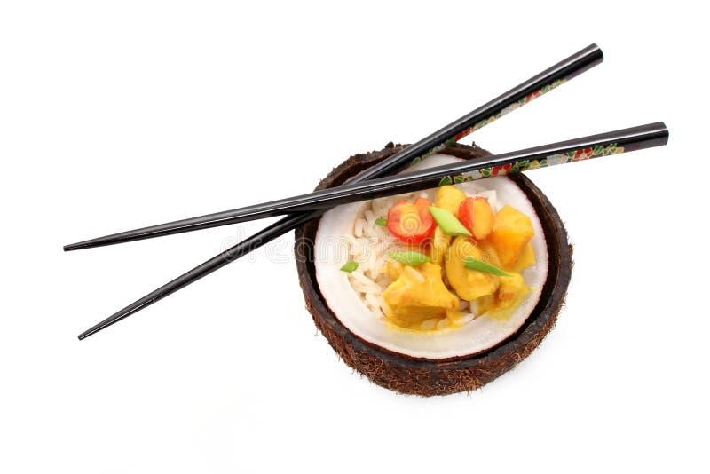 椰子咖喱鸡用米和肉,被隔绝 库存图片
