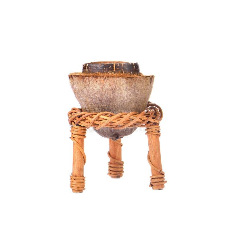 椰子在白色背景的罐蜡烛 库存照片