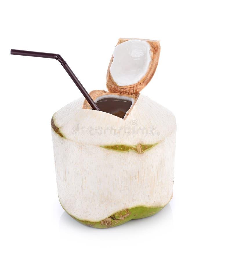 椰子在白色背景的水饮料与裁减路线 免版税库存照片