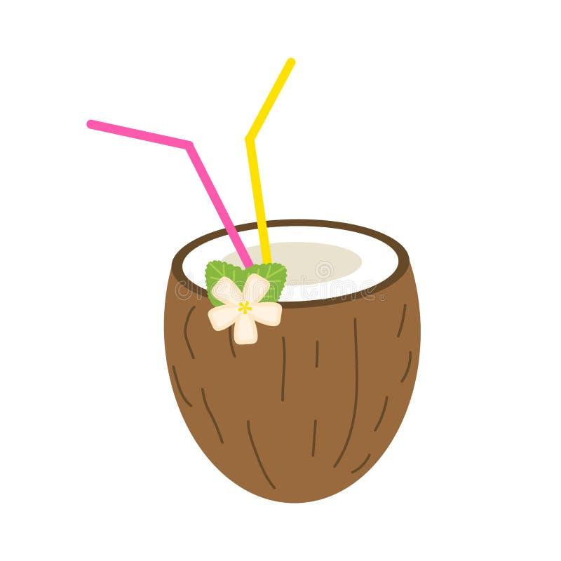 椰子夏天汁液或圆滑的人与秸杆 饮食和健康的素食有机饮料 鸡尾酒红色热带 皇族释放例证