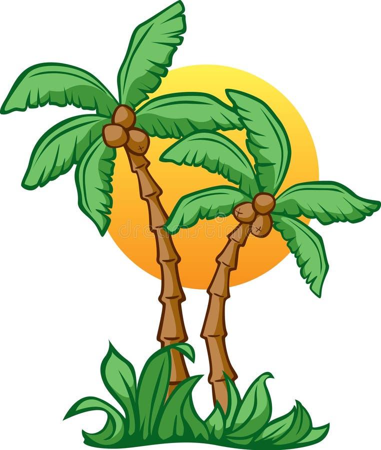 椰子日出 库存例证