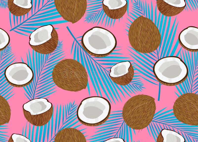 椰子果子无缝的样式整体和片断与蓝色棕榈叶在桃红色背景 o 库存例证