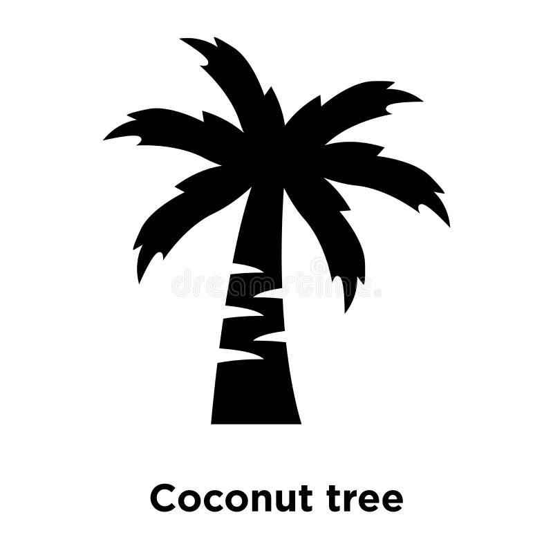 椰子树在白色背景隔绝的象传染媒介,浓缩的商标 皇族释放例证