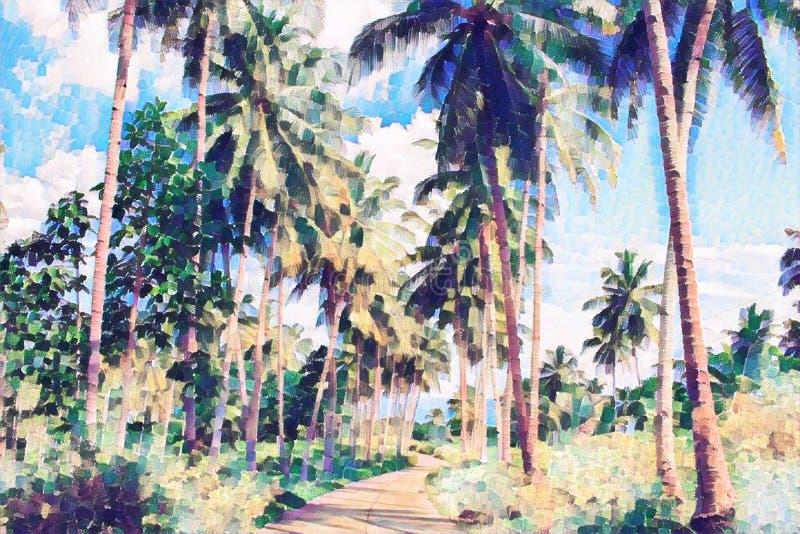 椰子树有绿叶的树胡同 热带自然数字式绘画 皇族释放例证