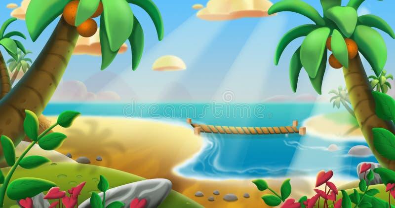 椰子树海滩 皇族释放例证