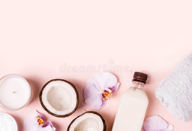 椰子油和一半在桃红色背景的新鲜的椰子 护发温泉概念 免版税库存图片