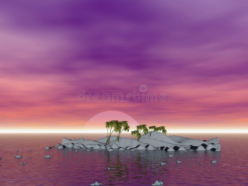 椰子浪漫海岛的掌上型计算机 库存例证