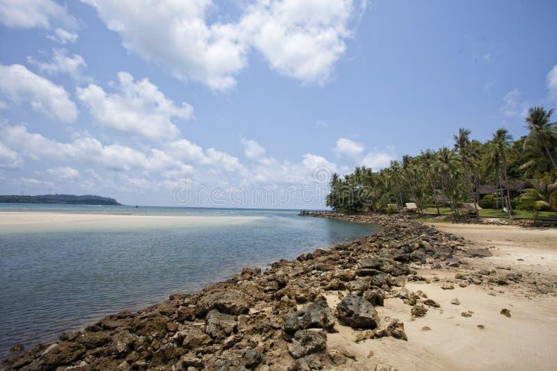 椰子海岛酸值kood海洋太平洋掌上型计算机 免版税库存照片