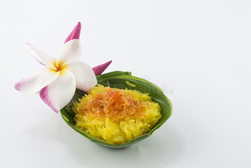 椰子点心米细片虾粘性样式甜泰国 免版税库存图片