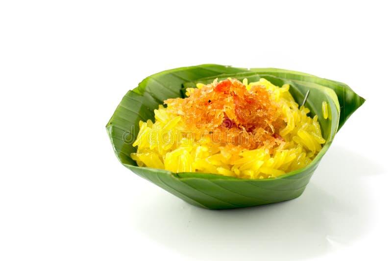 椰子点心米细片虾粘性样式甜泰国 免版税图库摄影