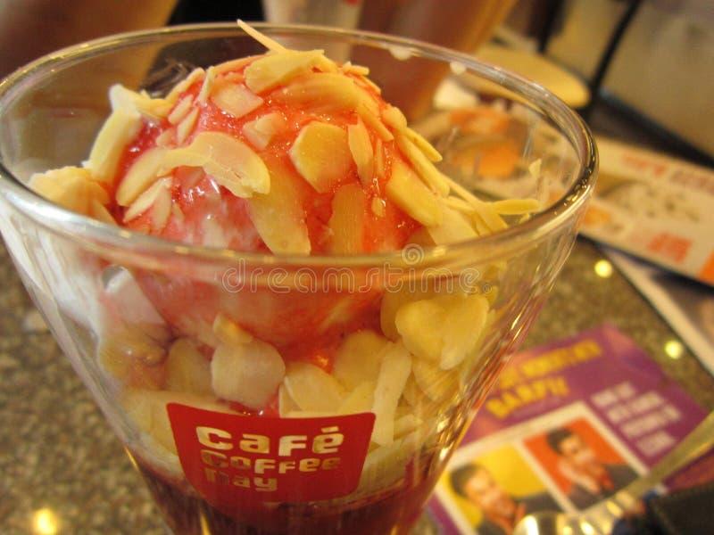 椰子草莓Fundae 库存照片