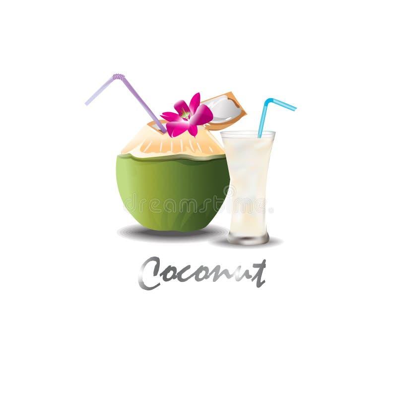 椰子饮料甜点 库存例证