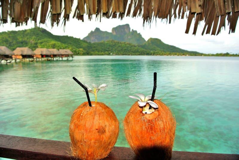 椰子鸡尾酒有登上Otemanu背景博拉博拉岛,法属玻里尼西亚 免版税库存照片
