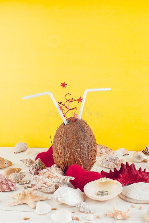 椰子鸡尾酒 夫妇日例证爱恋的华伦泰向量 图库摄影