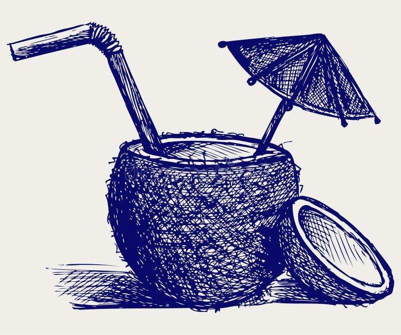 椰子鸡尾酒 向量例证
