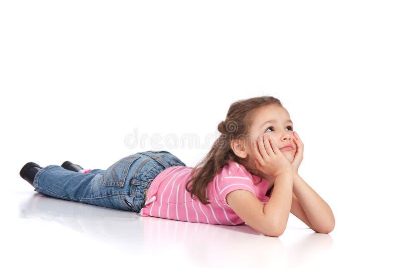 楼层女孩位于的幼稚园 免版税库存图片