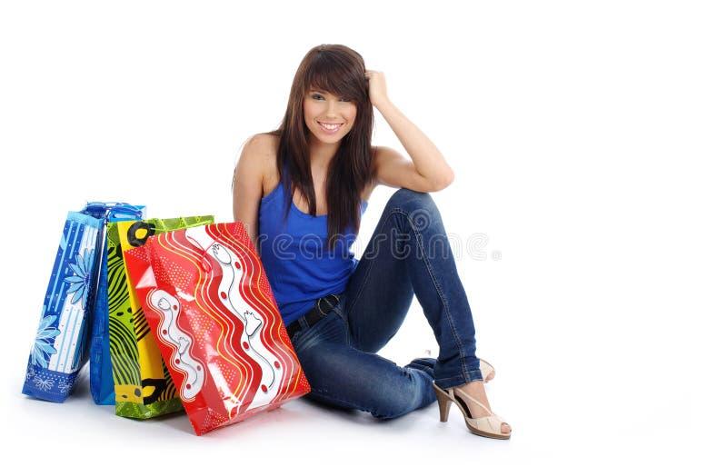 楼层女孩愉快的购物 免版税库存图片