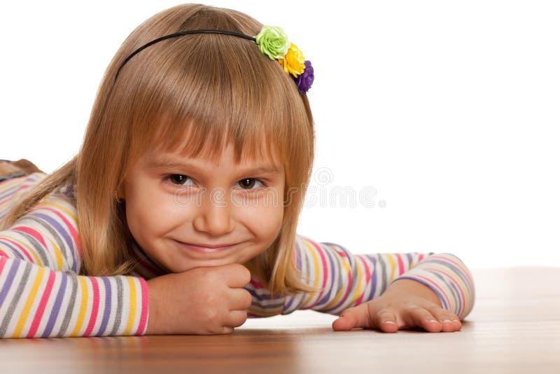 楼层女孩相当微笑木 库存图片