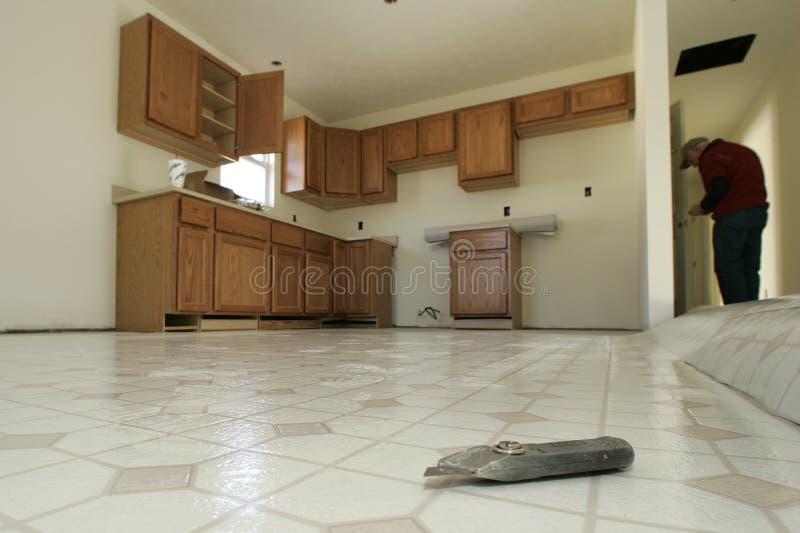 楼层安装厨房 免版税库存图片