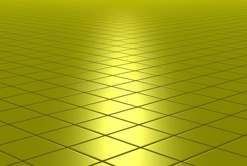 楼层铺磁砖的金子发光 库存图片