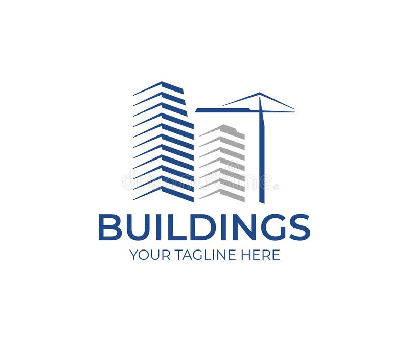 楼房建筑商标模板 摩天大楼和建筑用起重机传染媒介设计 向量例证