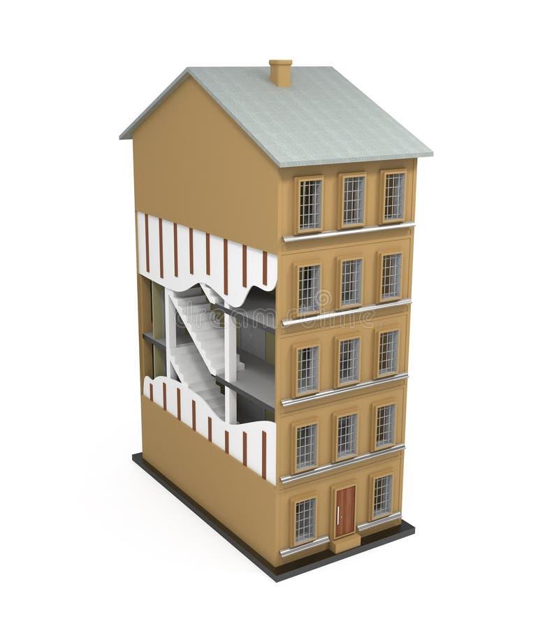 楼房建筑查出在白色之下 皇族释放例证