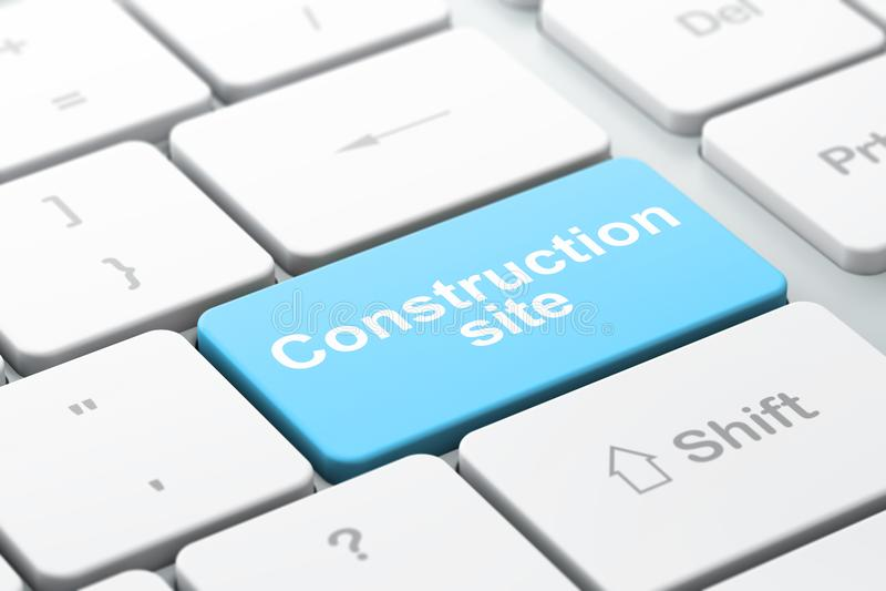 楼房建筑概念:键盘背景的建造场所 库存例证