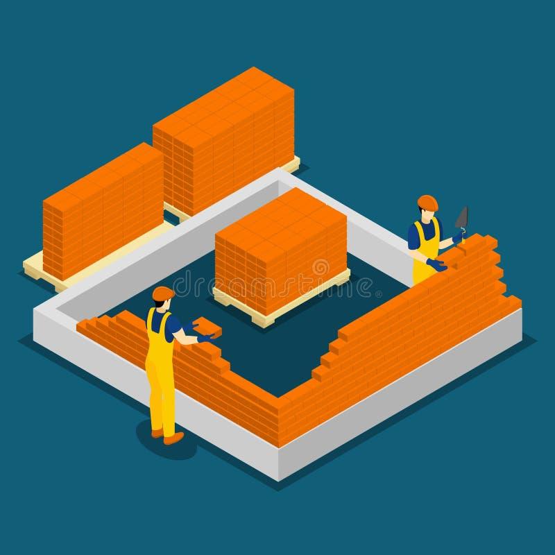楼房建筑工作者等量横幅 向量例证