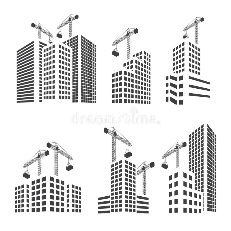 楼房建筑集合 库存例证