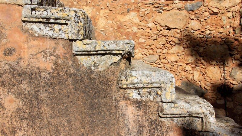 楼梯和墙壁 圣洁修道院arkadi古迹  库存图片