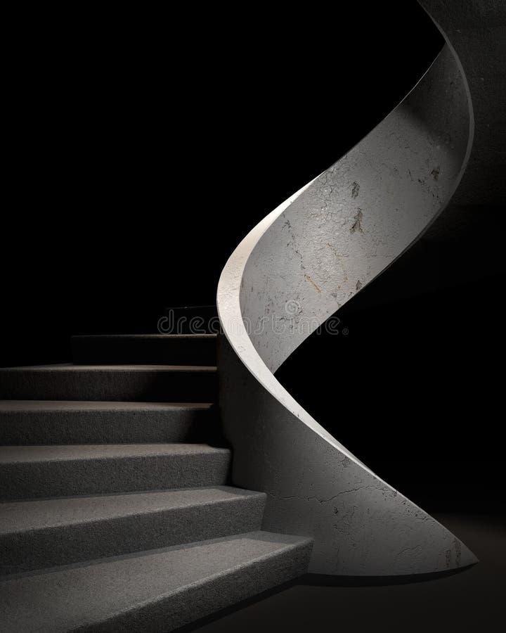 楼梯在一个黑暗的大厅里,光比赛和阴影 3d 皇族释放例证