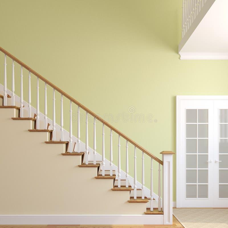 楼梯在现代房子里。 向量例证