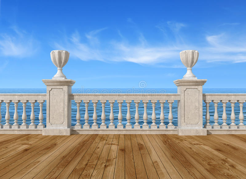 楼梯栏杆空的大阳台 向量例证