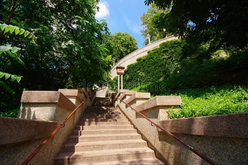 楼梯,萨格勒布,克罗地亚 免版税图库摄影